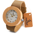 Top BOBO BIRD Brand Design F01 Pine Wooden Watch Genuine Leather Band Japan Quartz Moven t