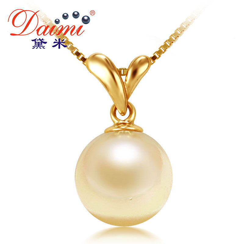 DAIMI 100% Natural Gold Pearl Pendant   Genuine 18K Yellow Gold With Akoya Pearls For Women Free Shipping  [Grass]<br><br>Aliexpress