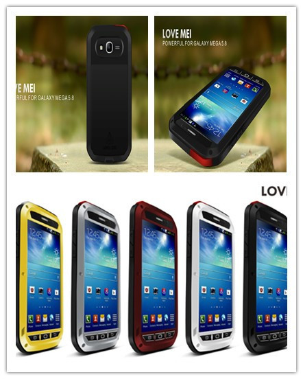 Original LOVE MEI Aluminum Powerful Waterproof Metal Case For Samsung Galaxy mega 5.8 + Gorilla Glass Free Shipping(China (Mainland))