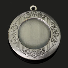 ZX128 32mm Round Brass Antique Silver Plated Single Side Figure floating Locket Charms Photo Locket Pendants Necklace(China (Mainland))