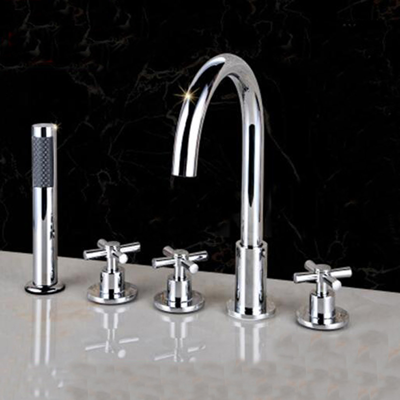 Buy Polished Chrome Bathroom Tub Faucet 5 Pcs Sink Mixer Tap