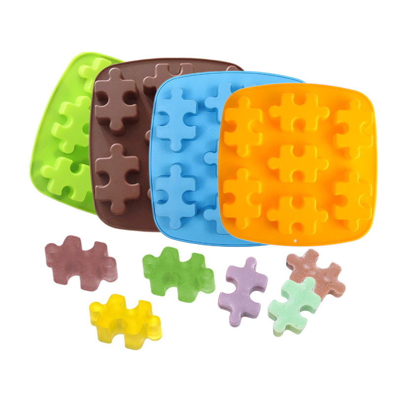 7 Cavity Puzzles Shape DIY Cookies Soap Chocolate Jelly Bakeware Silicone Mold Silicone Mallen Voor Taart Decoraties Baking Tool(China (Mainland))