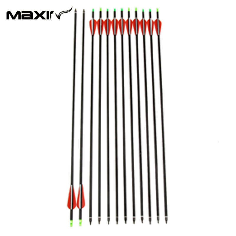 Maxin Bow Arrows 12 pcs pack 31 Inch Long New Red Vanes Carbon Shaft Crossbows Arrow