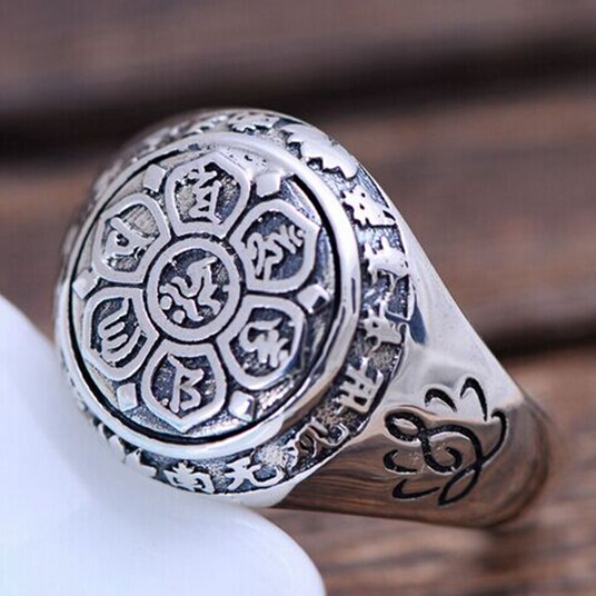 Handmade 925 Silver Tibetan OM Mani Padme Hum Ring Buddhist OM Mantra Ring Lotus CARVED Ring(China (Mainland))