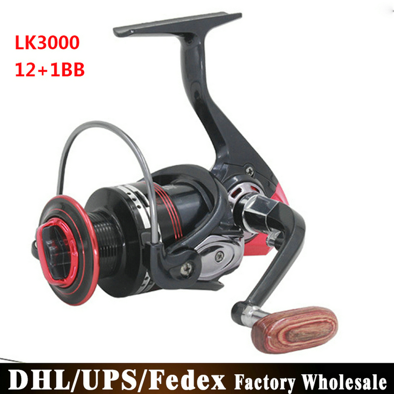 DHL/Fedex/UPS 20PCS 12+1BB Fishing Reel Left/Right Interchangeable Collapsible Handle Fishing Spinning Reel LK3000(China (Mainland))