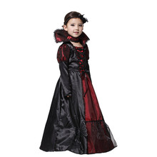 2016 Halloween Vampire Child Costume Princess Children Costume Queen Of Snow Party Gown Dress Choker Collar Performance Cosplay