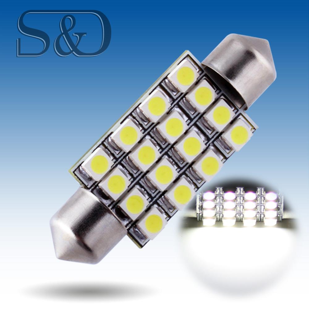41mm 16 SMD White Dome Festoon LED Light Bulb Lamp Auto c5w led car bulbs interior Lights Car Light Source parking 12V D020(China (Mainland))