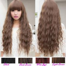 Free Shipping 1PC Classic Fashion Womens Lady Long Curly Wavy Hair Full Wigs Cosplay Party 5Colors(China (Mainland))
