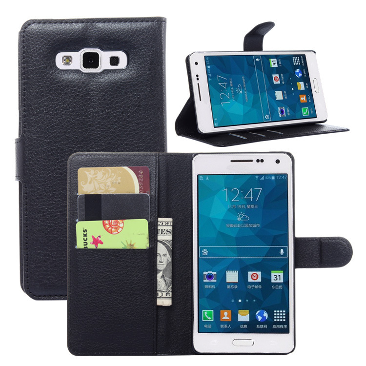 Luxury Mobile Phone pu leather Wallet Cover Flip Cell Phone Carry Case For Samsung Galaxy Alpha A7(China (Mainland))