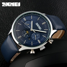 Men Dive 30M Leather Casual Sport Man Clock Top Brand Luxury SKMEI 2016 New Mens Business Watches Moon Phase Quartz Watch