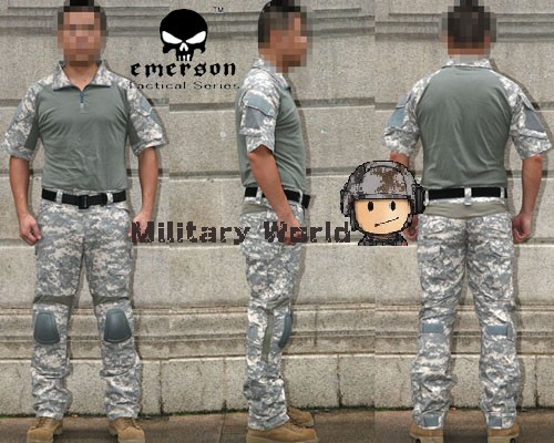 Фотография ACU Summer Style Emerson Military Camouflage Airsoft Tactical Combat Training Uniform with Detachable Knee protector