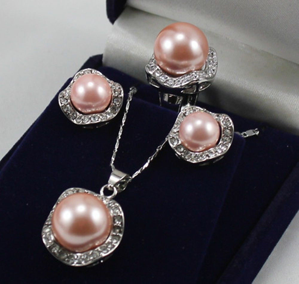 Hot sale Free Shipping>>Genuine pink Shell Pearl Diamante ...