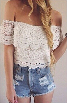 New Women Sexy Strapless Lace Crochet Off Shoulder Tops Tee Shirt Casual Blouse(China (Mainland))