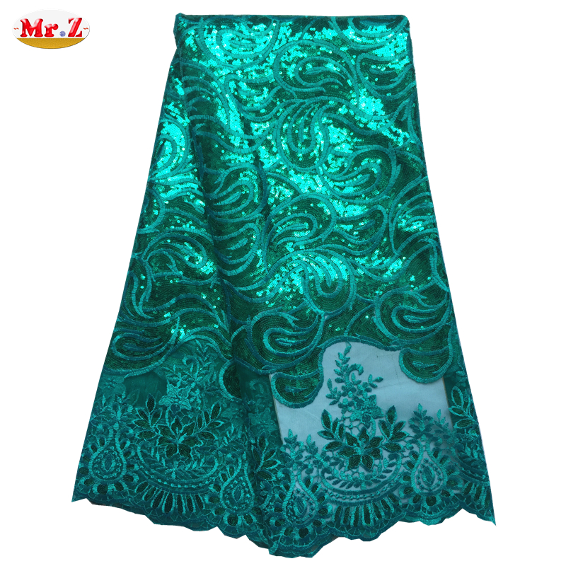 Mr.Z Latest African laces Fabric Embroidered High Quality African Mesh Tulle Net Lace Fabric With Sequins African Lace For Party(China (Mainland))