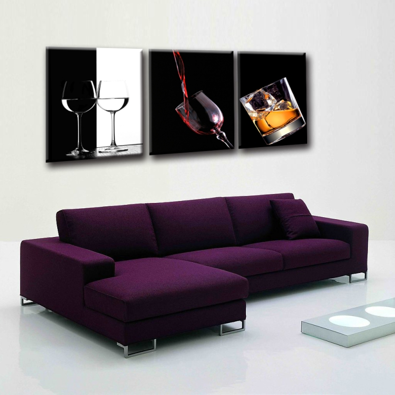 3 panel set modern wine glass painting canvas print wall for Modern glass wall art decor