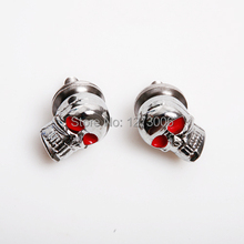 4Pcs Chrome Car Motorcycle Skull Heads / License Plate Tag Frame Bolts With Red Eyes Car Styling
