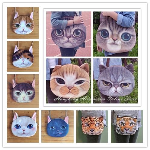 Hot Sale! New Designed Female Retro Cartoon 3D Animal Printing Shoulder Bags Cat Shape Women Handbag for Girls cat Bag,SKU 0313(China (Mainland))