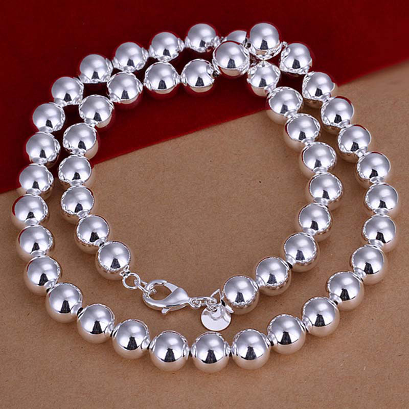 fashion 10mm silver hollow beaded jewelry 925 sterling