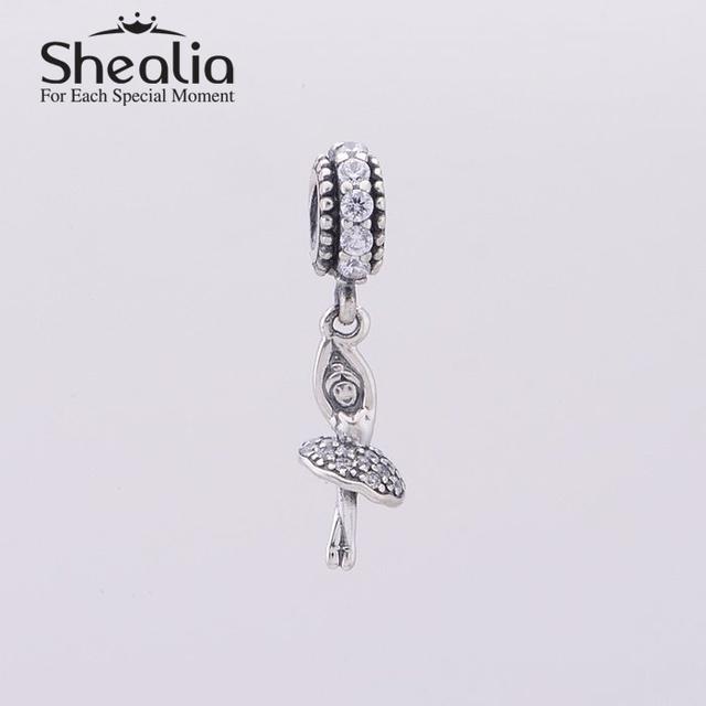 Бусины 2014 новый вымощает ясно циркон женщины балерина болтаться серебряные ювелирные изделия 925 подходит пандора стиль браслеты diy