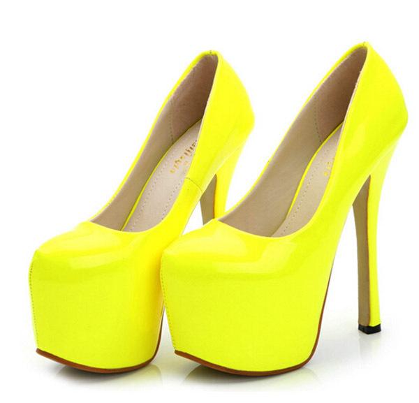 2015 Fashion 15CM Sexy High Heels Pumps Platform Red Sole High heels shoes fashion sexy yellow pumps FA-0078R(China (Mainland))