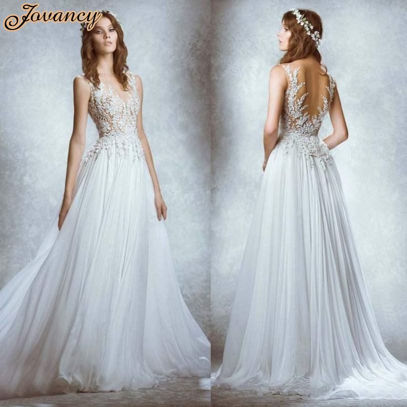 Zuhair Murad Sexy Lace Sheer High Neck Backless White Chiffon Court Train Wedding Bridal Dresses
