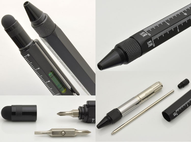 1pcs/lot Tool Ballpoint Pen Screwdriver Ruler Spirit Level with a top and scale multifunction metal pen Free Ship