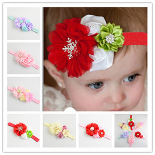 Baby girls Toddlers elastic chiffon satin ribbon rose headwrap with artificial pearl ,Hair Accessories Gift, props FD122(China (Mainland))