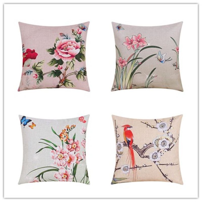 Fresh Style <font><b>Elegant</b></font> Plant Pattern Printed <font><b>Home</b></font> <font><b>Decor</b></font> Cushion Pillow Seat Car <font><b>Home</b></font> Throw Pillow Fashion Cushions Fundas Cojines