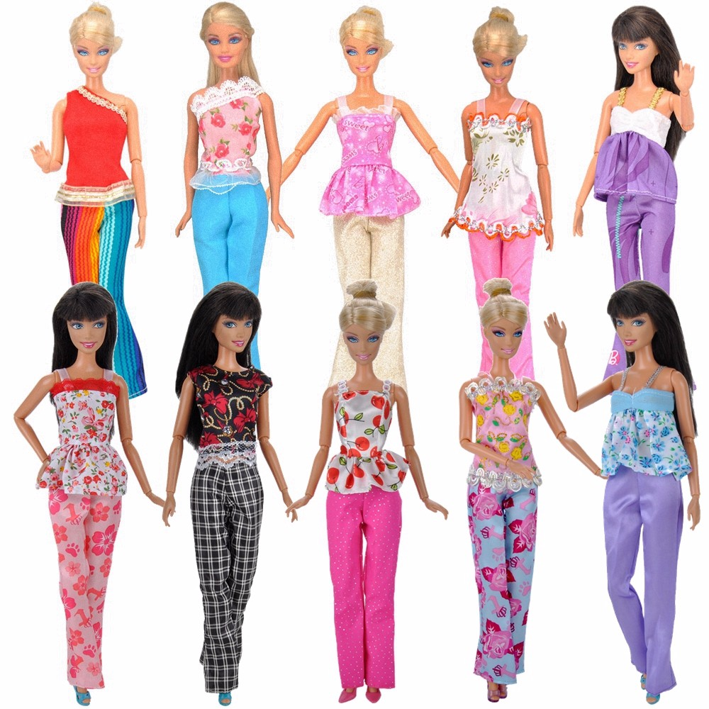 E-TING 5 Sets Handmade Blouse Outfit Casual Wear Clothes Trousers for Barbie Doll Spr