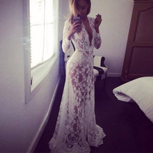 Women Fashion Summer Asymmetrical Patchwork Dress Hollow Out Long  Sleeve V Neck Lace Maxi Dresses(China (Mainland))