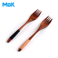 6 Pieces Japan Handmade Wrapping Handle Wooden Fruit Forks 4-Tooth Dessert Natural Wood Dinner Fork Set Free Shipping(China (Mainland))