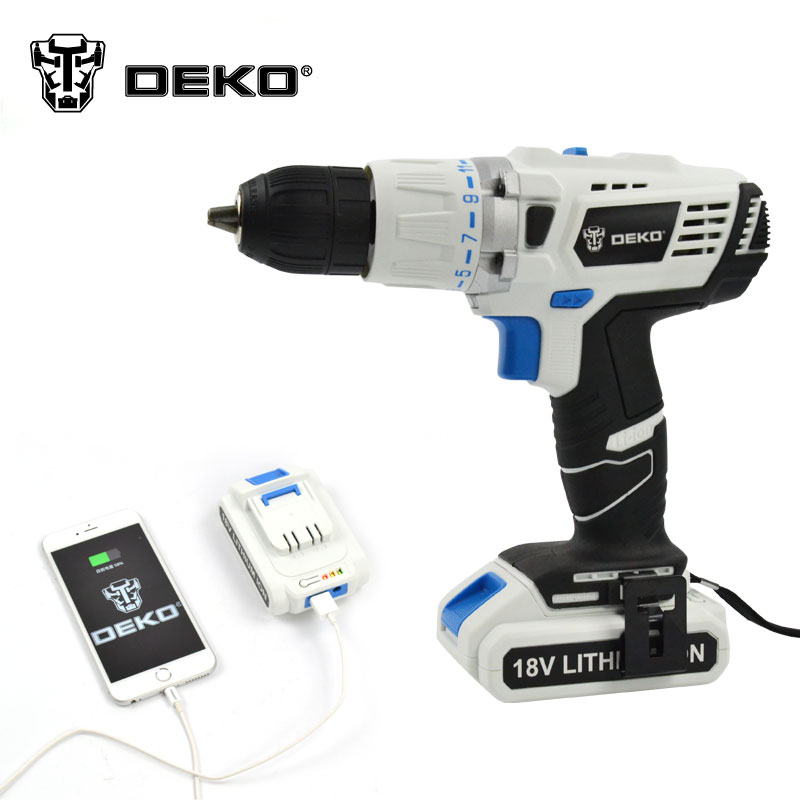 DEKO 18V DC New Design Mobile Power Supply Lithium Battery Hammer Cordless Drill Power Tools Impact Electric Drill(China (Mainland))