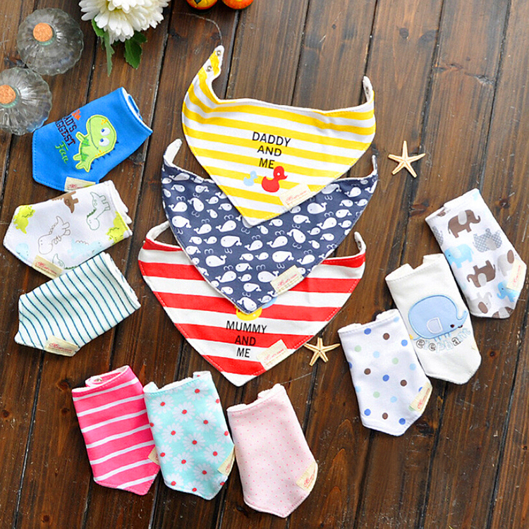 3pc/lot 100% Cotton Baby Towel Toddler Newborn Triangle Scarf Girls Feeding Smock Infant bibs Burp Cloths YE105a(China (Mainland))