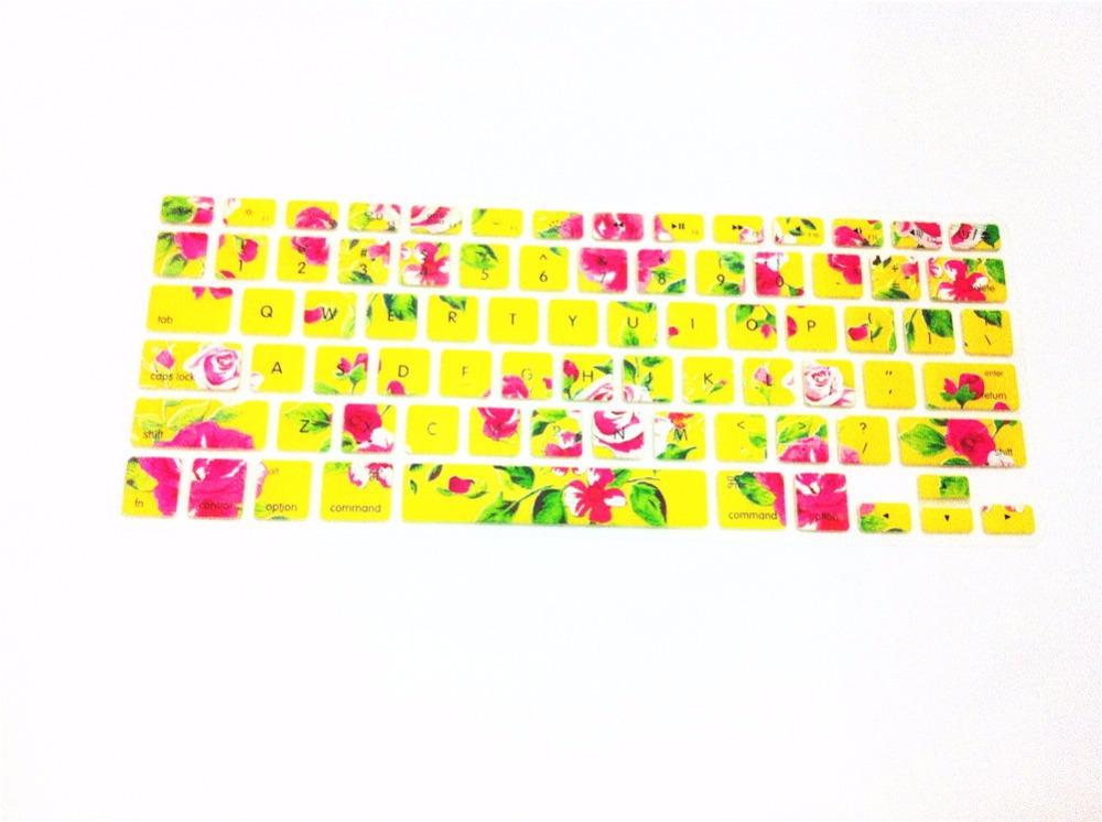 Yellow Flower Pattern Silicone Laptop Keyboard Skin Protector Cover Film Guard For All Apple Macbook Pro Air Retina 13 15 17(China (Mainland))