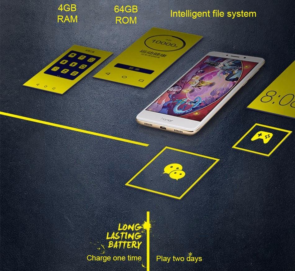 "Original Huawei Honor 6X 4G LTE Mobile Phone Kirin 655 Octa Core Dual Rear Camera 5.5"" 3GB/4GB RAM 32GB/64GB ROM Smartphone"