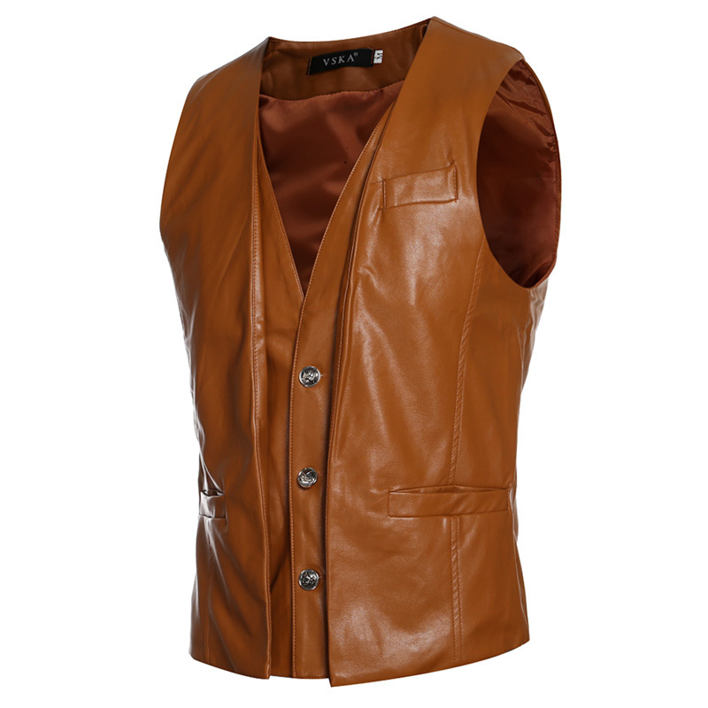 2017 New Spring Mens Vest PU Leather Solid Single Breasted Man Leather Vests Casual Slim Fake Two Pieces V-Neck 3 Color MQ26(China (Mainland))