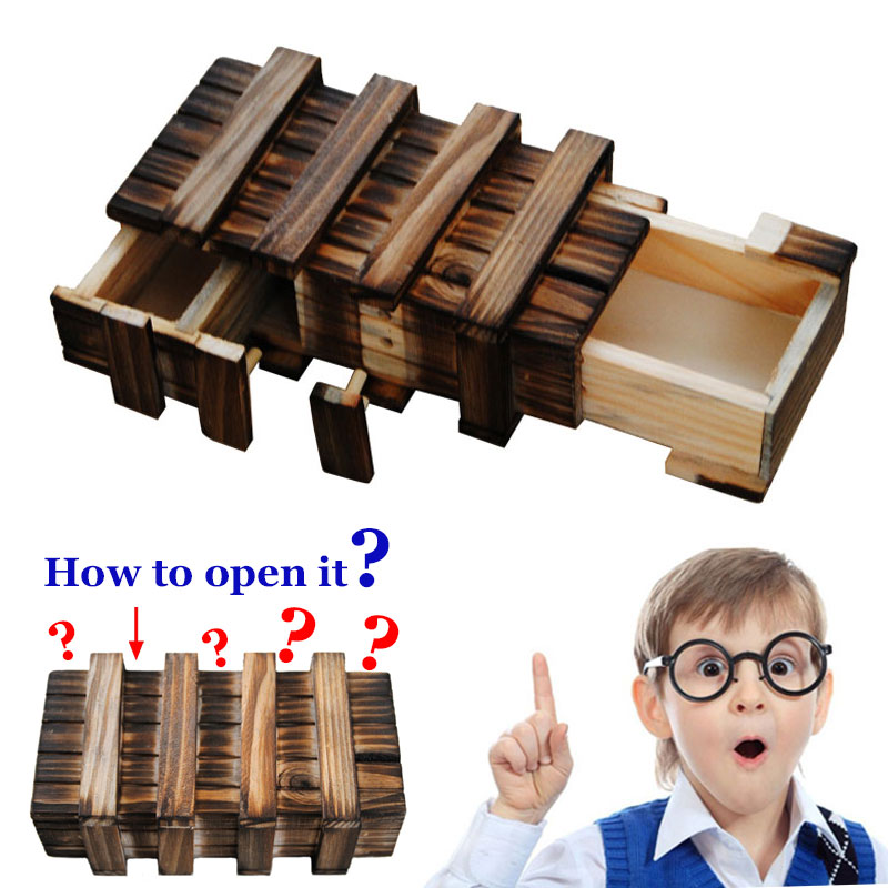 Funny Magic Compartment Wooden Puzzle Box With Secret Drawer Brain Teaser Educational Kids Toys Christmas Birthday Gift M09(China (Mainland))
