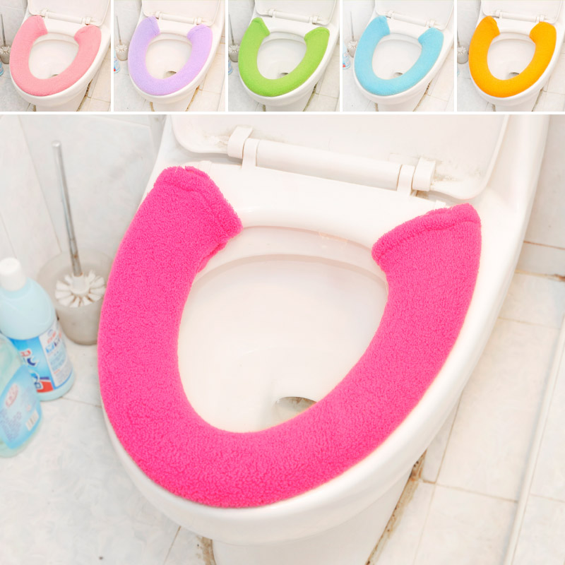 Washable soft flannel toilet seat cover solid toilet seat cover(China (Mainland))