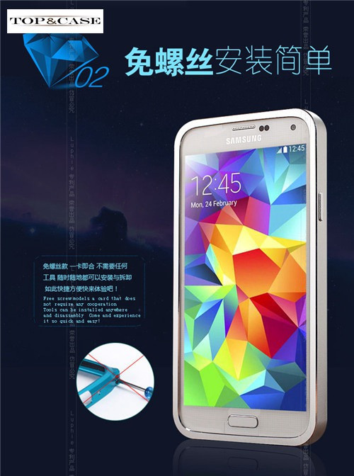 High quality Luxury Aluminum Frame Metal Battery back shell full cover case for samsung Galaxy S5 I9600 SJ0239