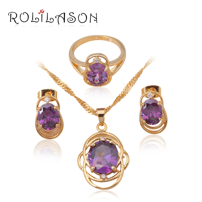 Best Gift & Retail Fashion jewelry 18k yellow gold plated Crystal Zircon Jewelry Sets Earrings Necklace Ring JS012 - ROLILASON Store store