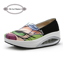 2016 Spring Autumn Women's Fashion Casual Shoes Shape Ups Outdoor Shoes Woman Fitness Shoes Wedge Swing Shoes Graffiti