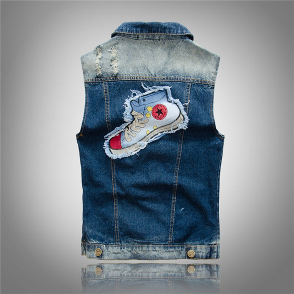 Unique Shoe Pattern Patchwork Men Casual Jean Waistcoat Slim Fit Blue Jean Vest Sleeveless Jean Jacket
