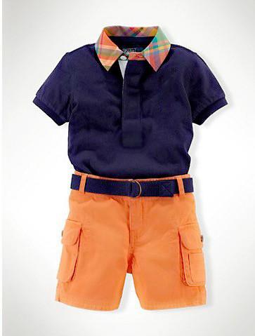 Retail Summer 2015 New Boys Short Sleeve Brand Name Shirt + Orange Shorts Set Kids Casual Outwear Children fashion clothing sets(China (Mainland))