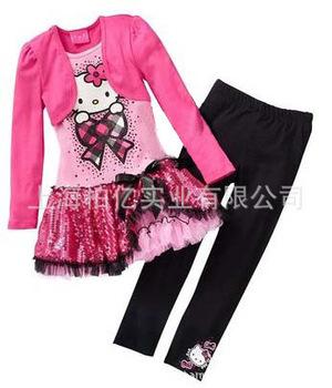 2013 Children spring Long-sleeved T-shirt+leggings pants cartoon KT cat Sets hello kitty dress baby girls Clothing sets Sequins