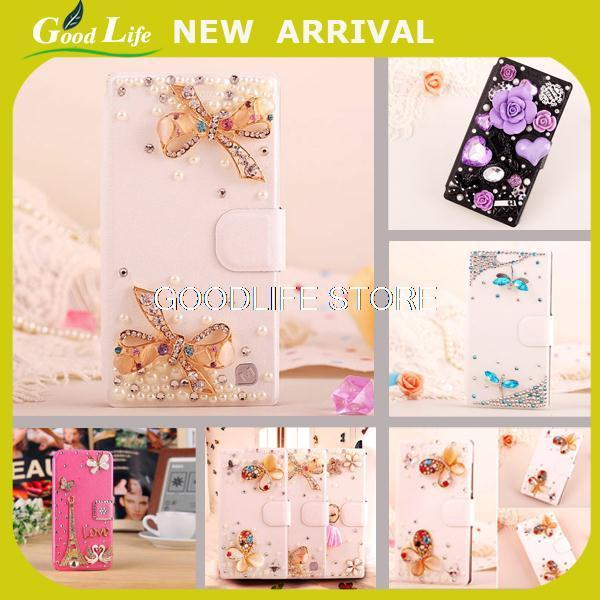 Butterfly Bling Diamond crystal flip wallet phone case cover For LG G3 Stylus D690(China (Mainland))