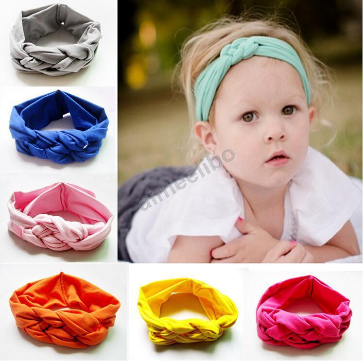 Retail Lovely Baby Knitting Cross Headband Hair Head Band Cotton Bow Elastic Knot Headband Kids Hair Accessories(China (Mainland))