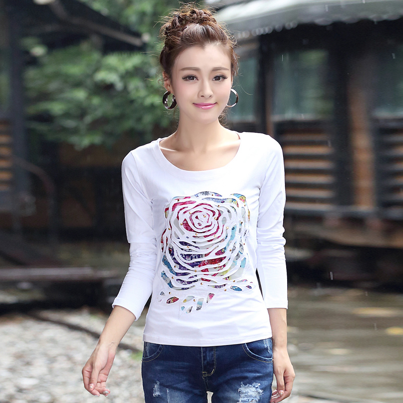 Women T-shirts 2015 New Casual Autumn&Winter O-Neck Flower Patchwork Cotton Hollow-out Full Sleeve Shirt Tops S-3XL Plus Size(China (Mainland))