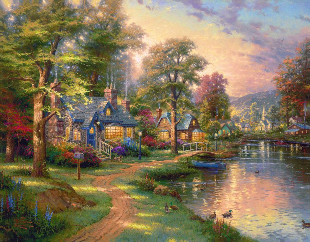 Framed painting by number wall paiting picture oil painting for living room 4050 hometown lake(China (Mainland))