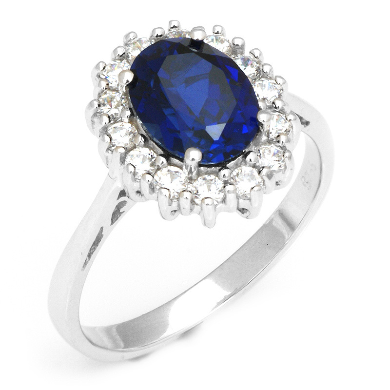 Luxury British Kate Princess Diana William Engagement Wedding Blue Sapphire Ring Set Pure Solid 925 Sterling Silver(China (Mainland))