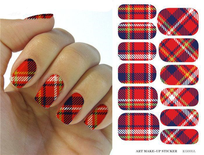 Water Transfers Foils Nail Art Stickers Red Plaid Stripe Tape Design Nail Decal Decoration Manicure Tools Nail Polish Stickers(China (Mainland))